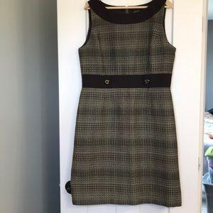 Tahari Brown and Khaki Sheath Dress size 14